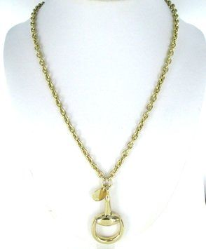 91fe309b6 GUCCI 18K YELLOW GOLD HORSEBIT NECKLACE WITH LOGO TAG $3,250 ...