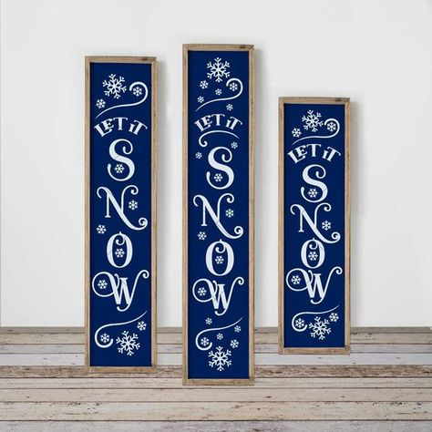 Let it snow with snowflakes SVG, 3 vertical files for long porch sign, front door, for Cutting Machines, Commercial Use Digital Design