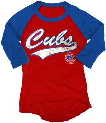 Chicago Cubs Womens Royal and White Burnout Bullseye Logo Baseball ... f2e38ec7dd26