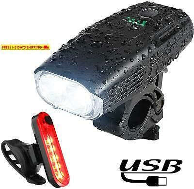 USB Rechargeable Bike Light Set 1000 Lumen Super Bright LED Bicycle Front Head