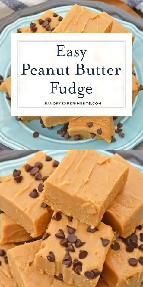 Easy Peanut Butter Fudge is rich, decadent and perfectly creamy. Simple instructions for how to make fudge in just 10 minutes! Microwave Peanut Butter Fudge, Nutella Fudge, Chocolate Peanut Butter Fudge, Peanut Butter Desserts, Easy Chocolate Fudge, Peanut Butter Marshmallow Fudge, Easy Microwave Fudge, Butterscotch Fudge, Desserts Caramel