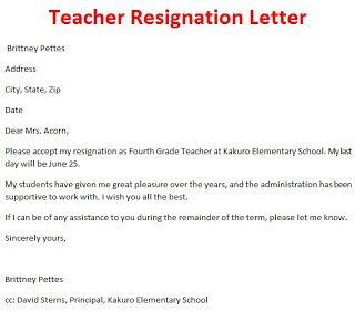 Teacher Resignation Letter Resignation Letter Teacher