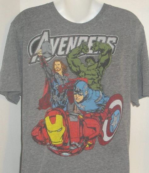 Old Navy Marvel Avengers Thor Iron Man Hulk Captain America Gray T