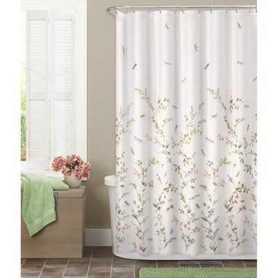 New Butterfly Floral Fabric Shower Curtain Liner Set Purple Green Beige