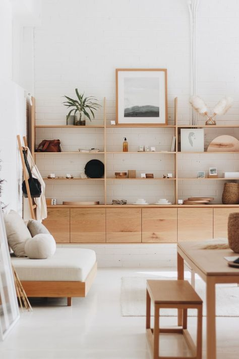 The Mr and Mrs White Showroom. Featuring handcrafted timber furniture, shelving and products. #retail #furniture #interiors #timberfurniture