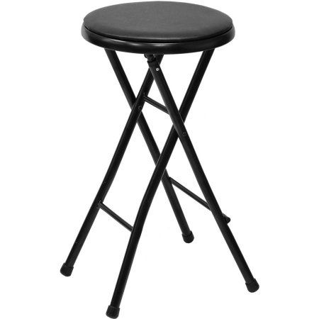 Surprising Mainstays 29 Inch Cushioned Folding Stool Black Finish Pabps2019 Chair Design Images Pabps2019Com