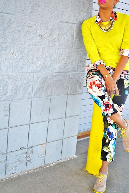 Floral Pants With Bright Yellow Statement Top
