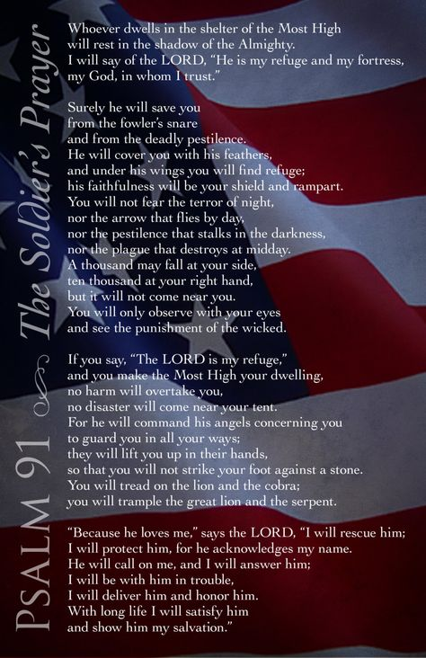Soldiers Prayer, Psalm 91, Military Prayer, Printable digital art, digital download. $5.00, via Etsy.