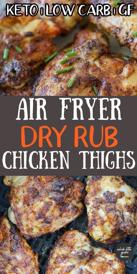 air fryer chicken thighs with a dry rub that's healthy, easy, keto, low carb, and gluten free. The chicken thighs in air fryer are bone in skin on thighs