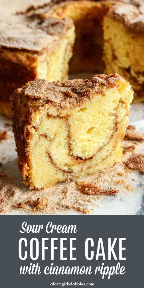 Sour Cream Coffee Cake with Cinnamon Ripple from afarmgirlsdabbles.com - My favorite coffee cakes are made with sour cream, and with a good amount of cinnamon sugar. You will not be disappointed with this EASY, tender, extra delicious recipe! #coffeecake #sourcream #breakfast #brunch #cinnamon #ripple