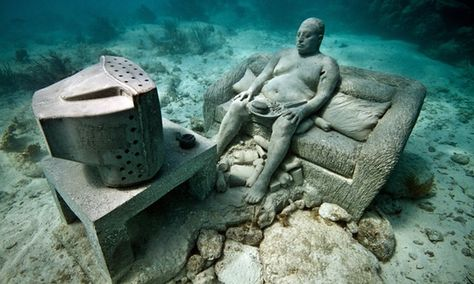 Drowned World Welcome To Europes First Undersea Sculpture Museum - Europes first ever underwater museum is full of hyperrealistic human sculptures
