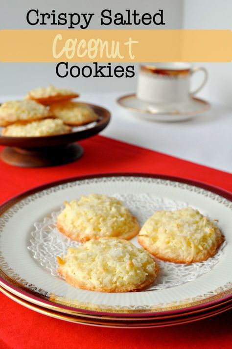 Crispy Salted Coconut Cookies |ww.flavourandsavour.com Super fast and easy to make. Sweet and a tiny bit salty. These disappear quickly!
