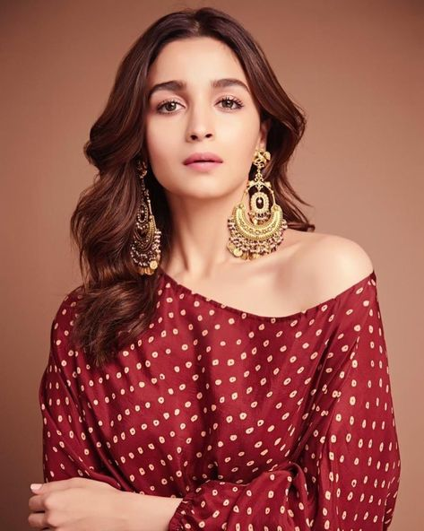 Alia Bhatt in a red off shoulder Sabyasachi midi dress with gold earrings. #Frugal2Fab