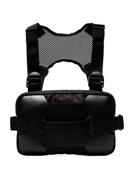 ALYX 1017 ALYX 9SM BLACK CHEST RIG LEATHER AND MESH BAG. #alyx #bags #shoulder bags #hand bags #leather