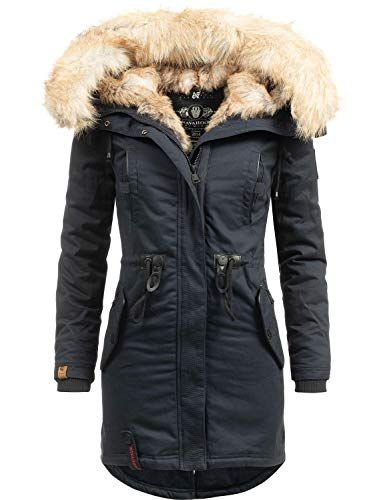 new product a1e1e 8c253 Navahoo Damen Wintermantel Winterparka mit Kunst-Fell Kapuze ...