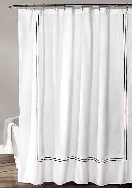 Lush Decor Hotel Collection Shower Curtain White Gray Vintage