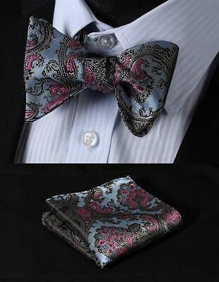 Men/'s Floral Paisley Silk Cummerbund /& Self Bowtie And Pocket Square Set Red