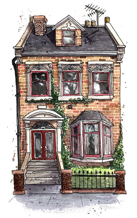 London Townhouse, watercolour and ink, me, 2019 : Watercolor Architecture Drawing Plan, Architecture Drawing Sketchbooks, Watercolor Architecture, Japon Illustration, Building Illustration, Watercolor Illustration, Watercolor And Ink, Watercolor Paintings, Watercolor Landscape