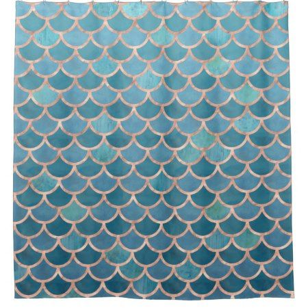 Teal Blue Rose Gold Mermaid Scales Pattern Shower Curtain Click