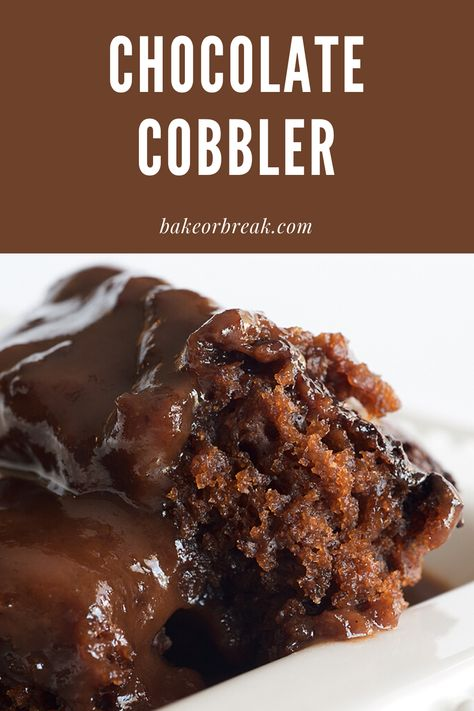 Chocolate Cobbler is a simple recipe to make with big results. As it bakes, it forms a cake-like topping and a gooey chocolate sauce on the bottom. Absolutely delicious! - Bake or Break #chocolate