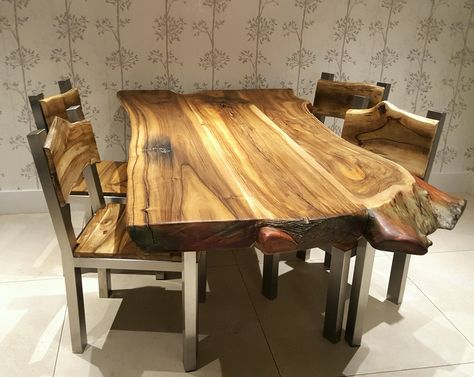 Solid Chunky Walnut Dining Table On