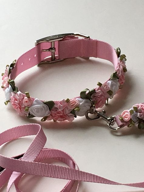 Blush Small Dog Collar Rose Dog Collar Cat Collar Pink The Effective Pictures We Offer You About Cat Accessories videos A quality picture can tell you many Diy Dog Collar, Collar And Leash, Cat Collars, Cat Accessories, Dog Wedding, Diy Stuffed Animals, Dog Harness, Pet Clothes, Dog Supplies
