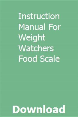 weight watchers food scale manual pdf