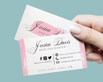 Feminine Business Card Design Beauty Salon Business Card Etsy Beauty Business Cards Salon Business Cards Beauty Salon Business Cards
