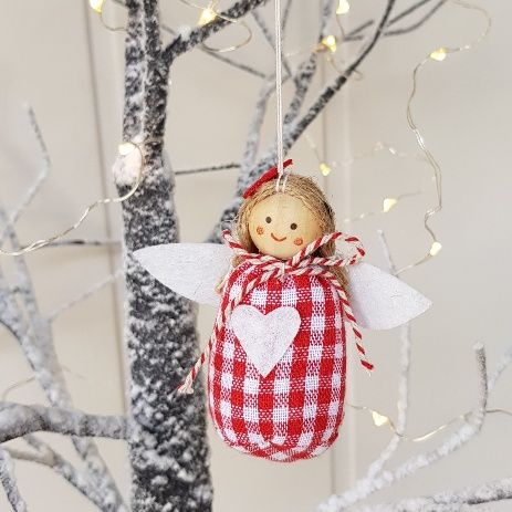 Umbrella Christmas Tree Uk.Red Gingham Fairy Angel Nordic Christmas Tree Decoration By