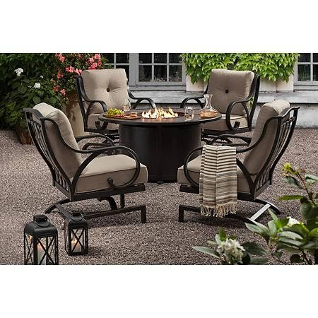 Member S Mark Harbor Hill 5 Piece Fire Chat Set Sam S Club In 2021 Patio Furniture Fire Fire Pit Table Set Outdoor Furniture Outdoor conversation sets with fire pit