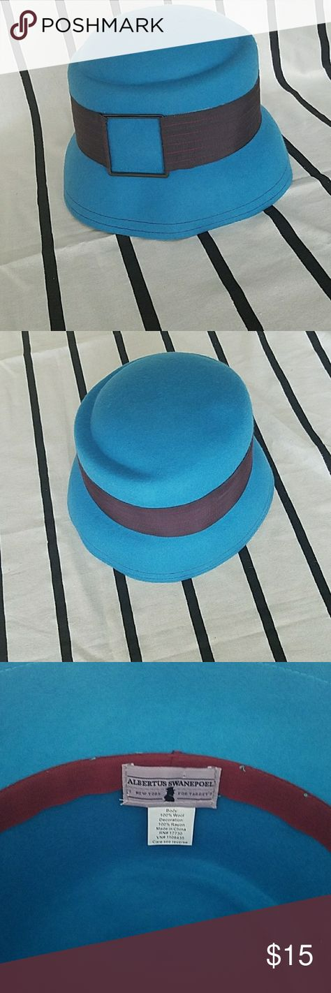 a8adc4f12b1 Albertus Swanepoel Hat Albertus Swanepoel for Target felt bucket hat in  blue with brown ribbon band. Accessories Hats