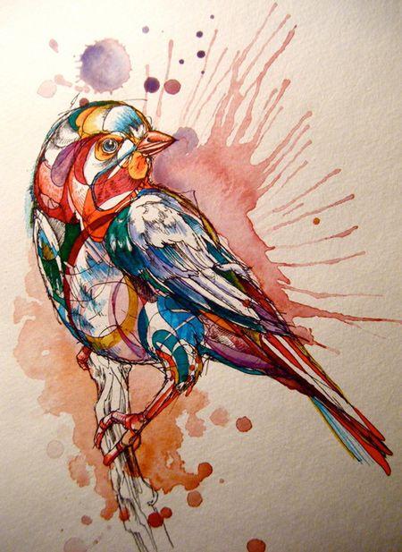 Birds by abby diamond cameleon art, bird art, watercolor pai