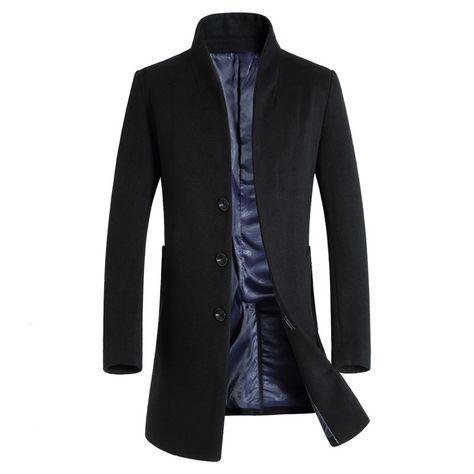 2016 nieuwe lange wollen jas mannen mode heren erwt jas wool