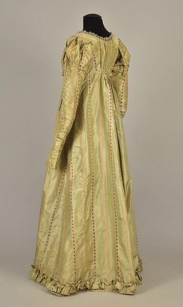 Sage and Black Stripe Silk Victorian Skirt