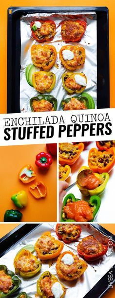 Need a healthy vegetarian dinner outside of your usual routine? This Enchilada Quinoa Stuffed Peppers recipe is flavored with a quick homemade enchilada sauce and baked to bubbly, cheesy perfection. A healthy dinner idea your whole family is going to love. #vegetarianrecipe #vegetarian #vegetarianfood #mexicanfood #stuffedpeppers #easydinners #healthydinners #healthyfood #healthyrecipes // Live Eat Learn