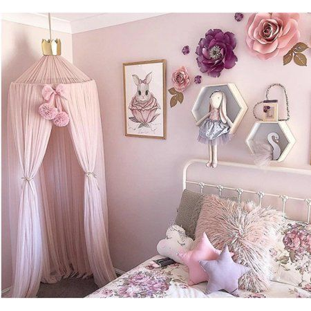 Home Girls Princess Bed Canopy Round Dome Children Mesh Gauze Mosquito Net Hanging Curtain For Kid Girls Bed Canopy Girl Bedroom Designs Princess Canopy Bed