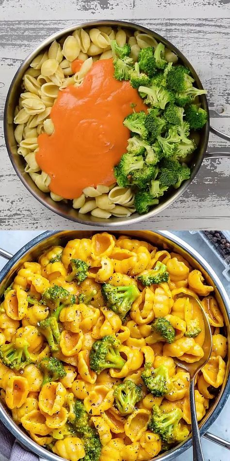 """This Vegan Mac and Cheese is so easy to make, loaded with broccoli and made with a plant-powered homemade creamy and """"cheesy"""" sauce. It can easily be made gluten-free, so flavorful, and ready in just Tasty Vegetarian Recipes, Vegan Dinner Recipes, Whole Food Recipes, Dinner Healthy, Easy Vegan Dishes, Pumpkin Dinner Recipes, Vegan Squash Recipes, Vegan Indian Food, Vegan Soul Food Recipes"""