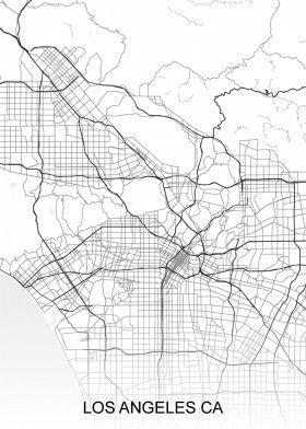 Map Of America Los Angeles.Los Angeles Ca Usa Street Map North America Street Maps Road Map