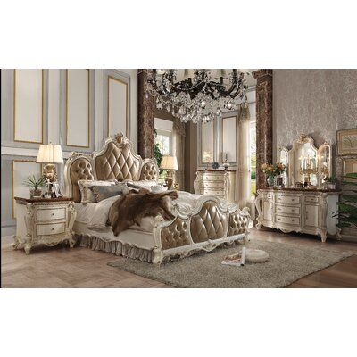 HomeRoots This bedroom collection brings the influence of European antiques to life with traditional carvings, detailed looping, and a gorgeous antique pearl finish. The hand applied finish enhances the beauty of the detailed wood work and carvings. The bed features tufted upholstery on the headboard and footboard. This elaborate collection will surely bring true splendour into your home. Size: Queen Home, Furniture Deals, Traditional Bedroom, Traditional Bedroom Sets, Luxurious Bedrooms, Victorian Bedroom, California King Bedding, Classic Bedroom, Room Ideas Bedroom