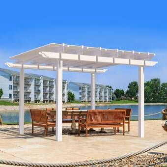 10 Ft W X 12 Ft D Solid Wood Pergola With Mounting Kit Vinyl Pergola Pergola Modern Pergola