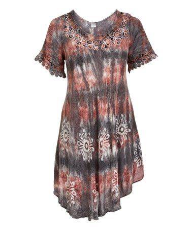 5e3fbe238f84 Another great find on  zulily! Gray Tie-Dye Lace-Accent Shift Dress - Plus   zulilyfinds
