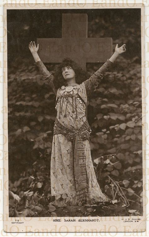 Antique Rare Photo Postcard Sarah Sarah Bernhardt was a French stage and early film actress, and has been referred to as