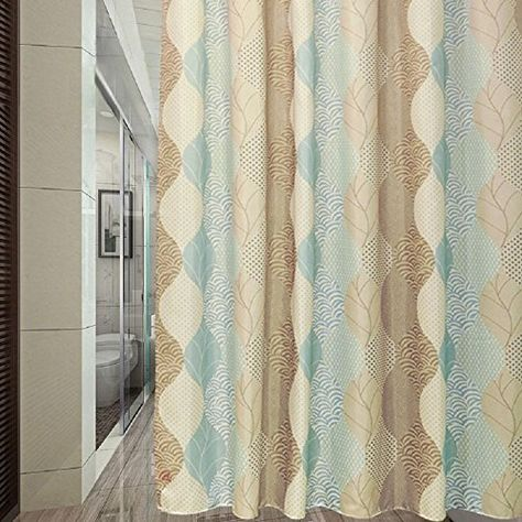 Ufaitheart Waterproof Shower Curtain Liner 84 X 72 Inches Abstract Leaves Pattern Fabric Extra Wide Brown Beige And Turquoise Click Image