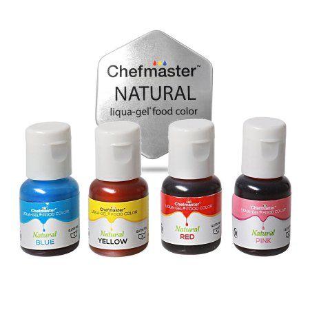 Chefmaster Natural Liqua-Gel Food Coloring 4 Color Kit, Blue ...