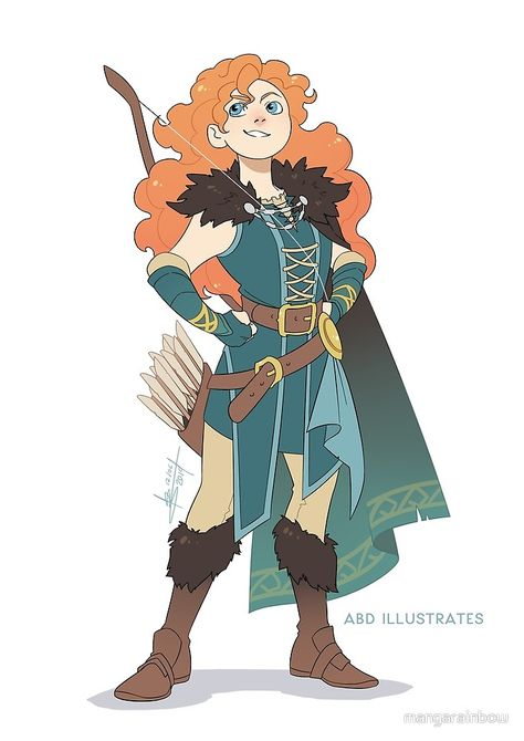 Turned some more Disney Heroes into DnD characters for this week's Speedpaint! Merida the Ranger Fantasy Character Design, Character Design Inspiration, Character Concept, Character Art, Character Design References, Character Ideas, Concept Art, Dnd Characters, Fantasy Characters