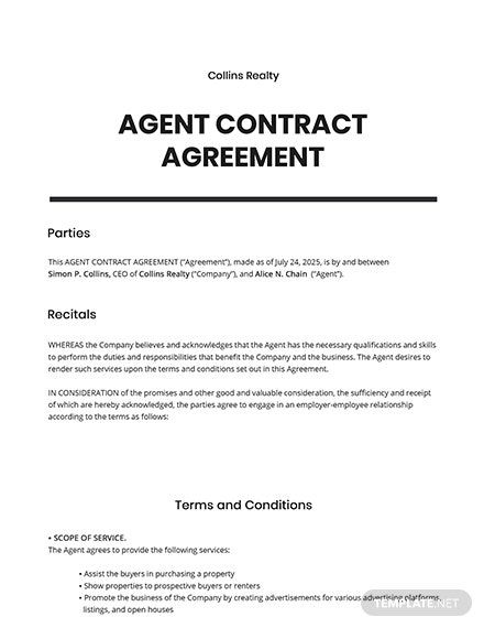 Agent Contract Agreement Template Free Pdf Google Docs Word Apple Pages Template Net Contract Template Contract Agreement Contract