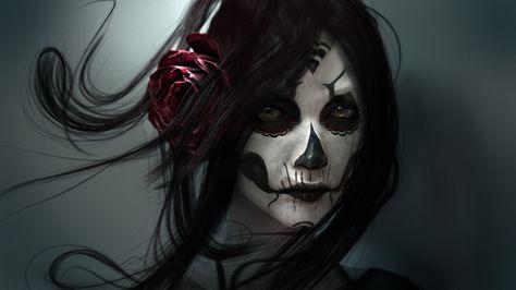 Gothic Face Brunette Girl Hair Fantasy Girl Fantasy Skull