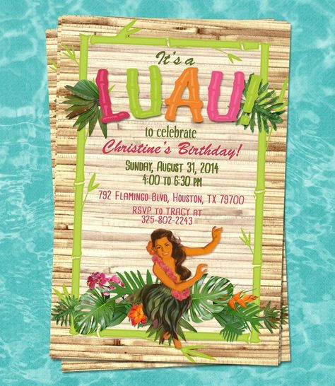 Luau Printable Custom Invitation Children Or Adult Birthday Party Sweet 16 Retirement Bridal Sho