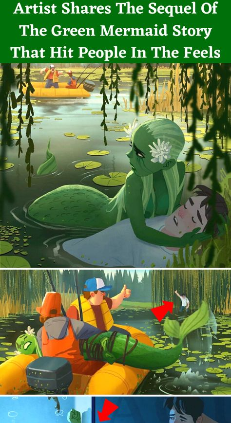 In 2019, Bored Panda created a post about Andy Ivanov and his illustrations depicting a mermaid that lives in a lake. Well, the artist behind those drawings created a part two to his previous heartwarming story that captured the internet's love and attention: the dramatic, but sweet love story between a mermaid and a human.
