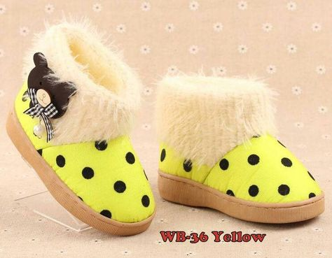 Sepatu Winter Import Balita Kode Wb 36 Teddy Polka Yellow Price Rp